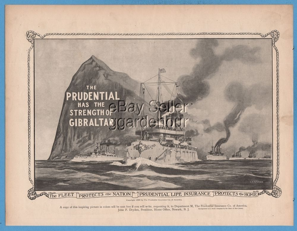 1909 prudential life insurance rock of gibraltar us navy
