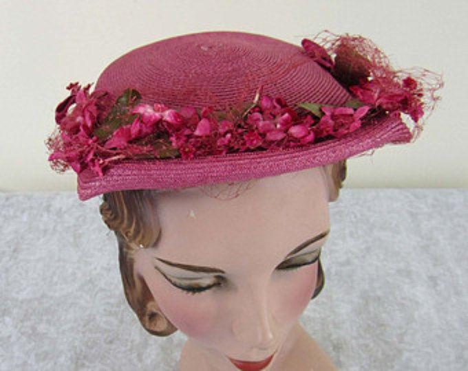 Vintage Dark Pink Straw Top Sitter with pink & green florals - 1950s - Garden, church hat