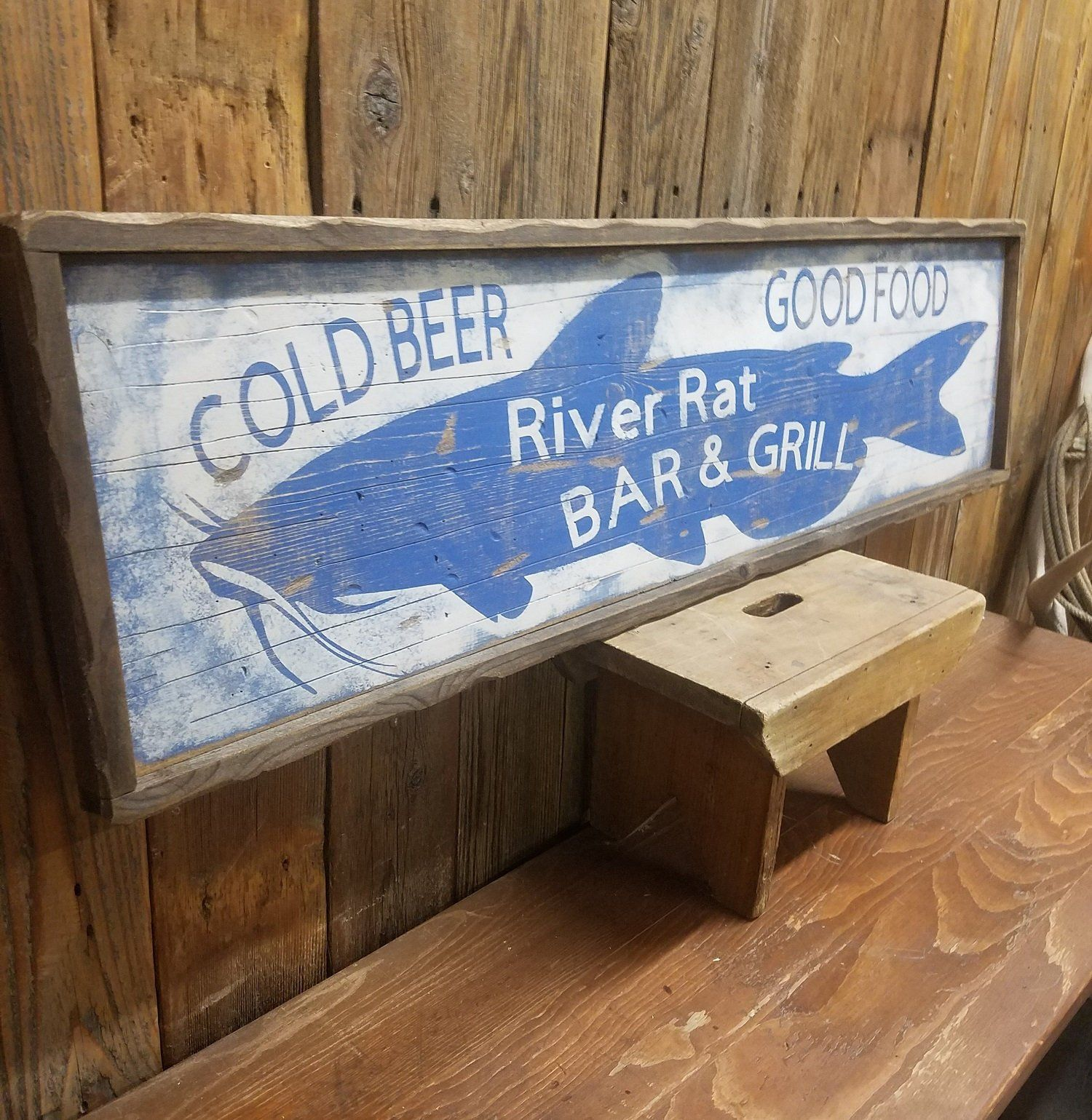 River Sign River Rat Bar Grill Cold Beer Good Food Rustic Etsy River Rat River House Decor Cabin Decor