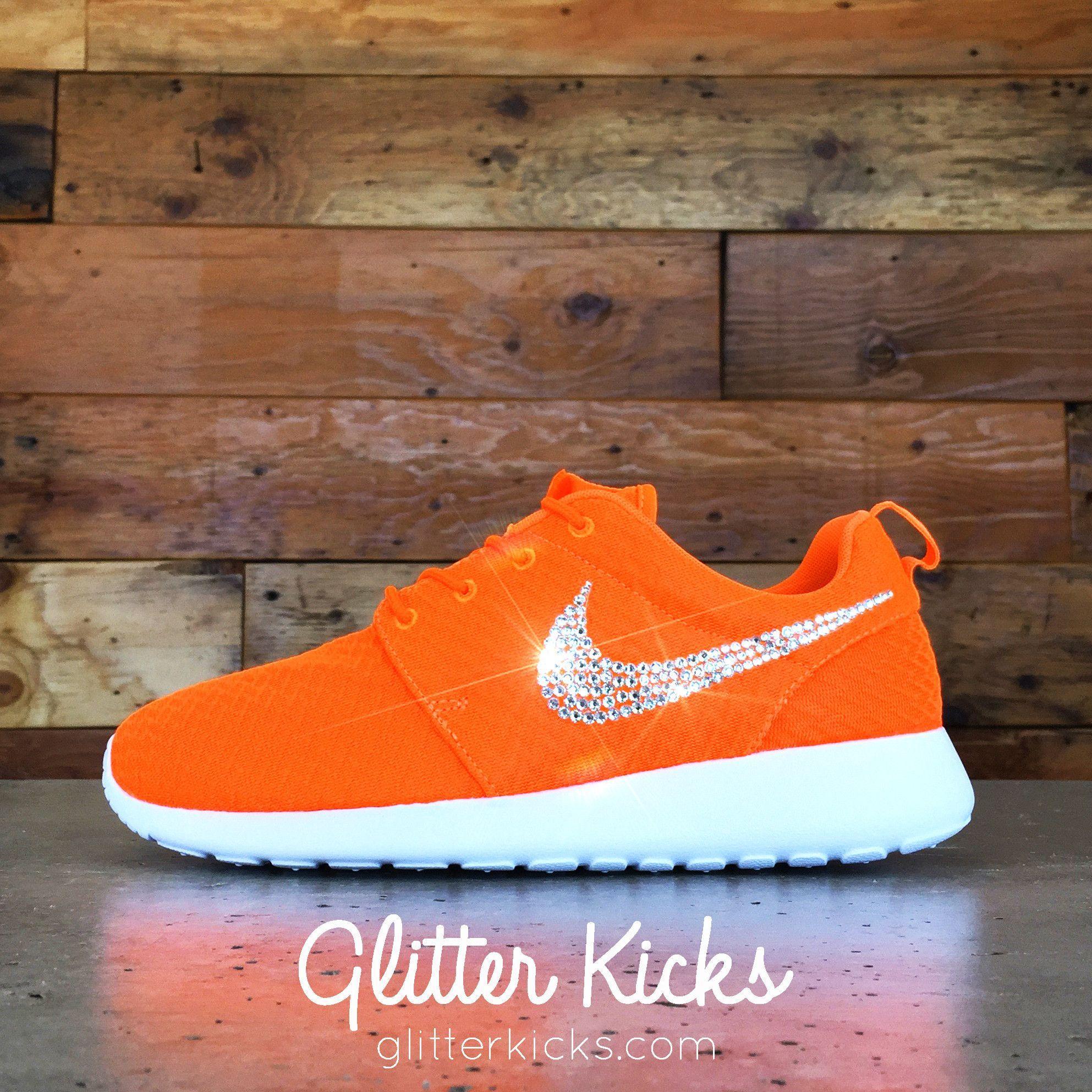 nike roshe uno personalizzato da glitter calci delle scarpe arancioni