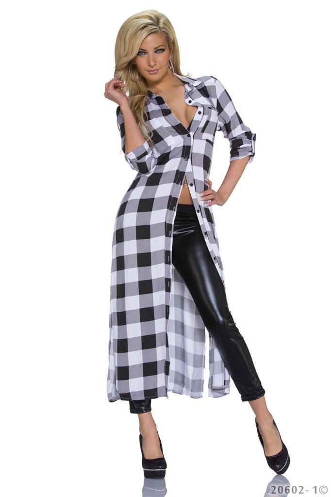 Dluga Koszula Sukienka 2w1 Krata Street Style Wow 5105718097 Oficjalne Archiwum Allegro Long Sleeve Cardigan Fashion Plaid Cardigan