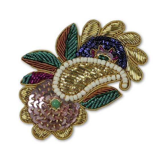 Bullion paisley motif beaded appliqués nailheads