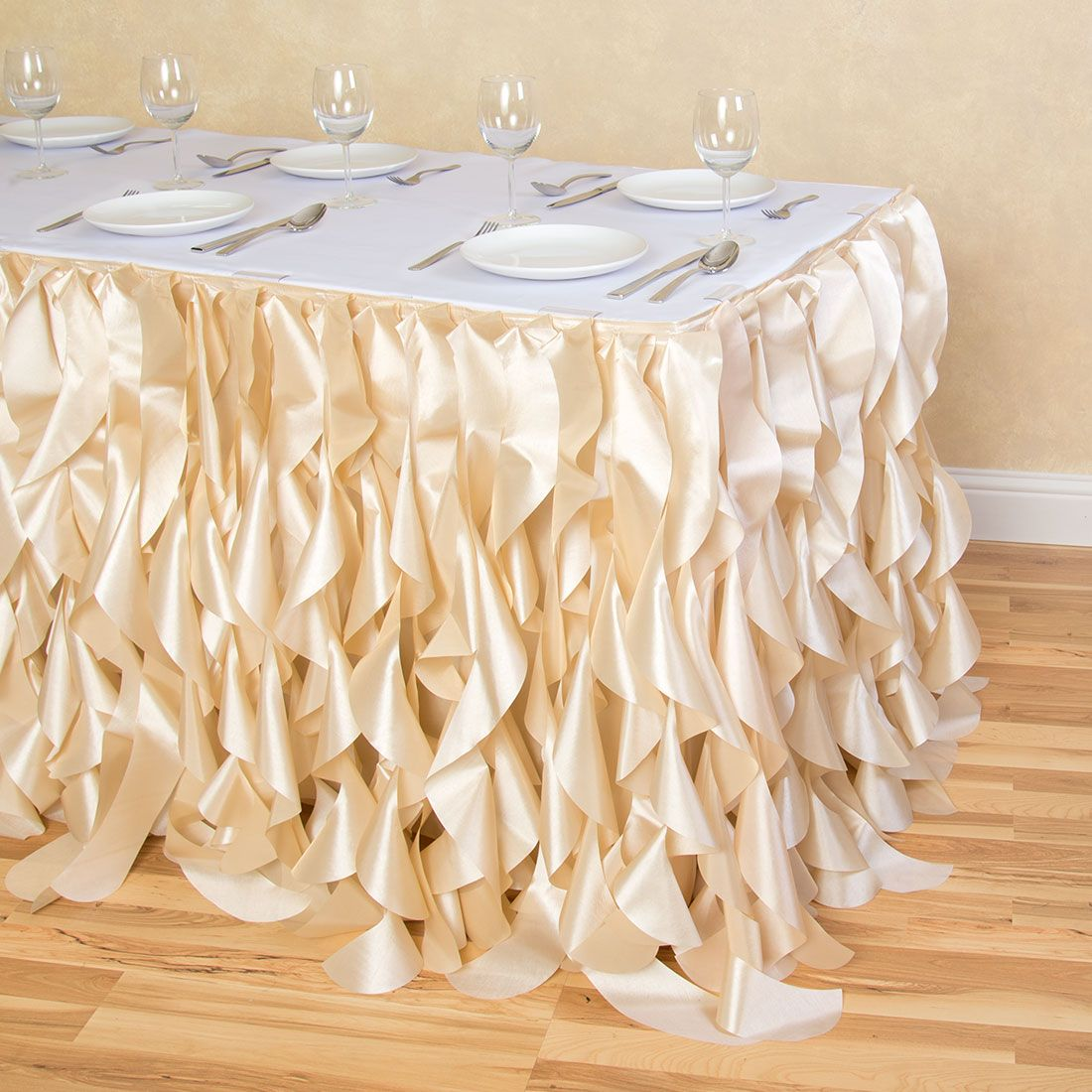 Shop for beige ruffled table skirts at LinenTablecloth. Curly Willow Table  Skirt Champagne features numerous curved ribbons, creating a graceful look  of ...