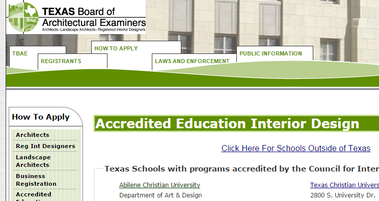 Texas Schools With Programs Accredited By The Council For Interior Design Accreditation