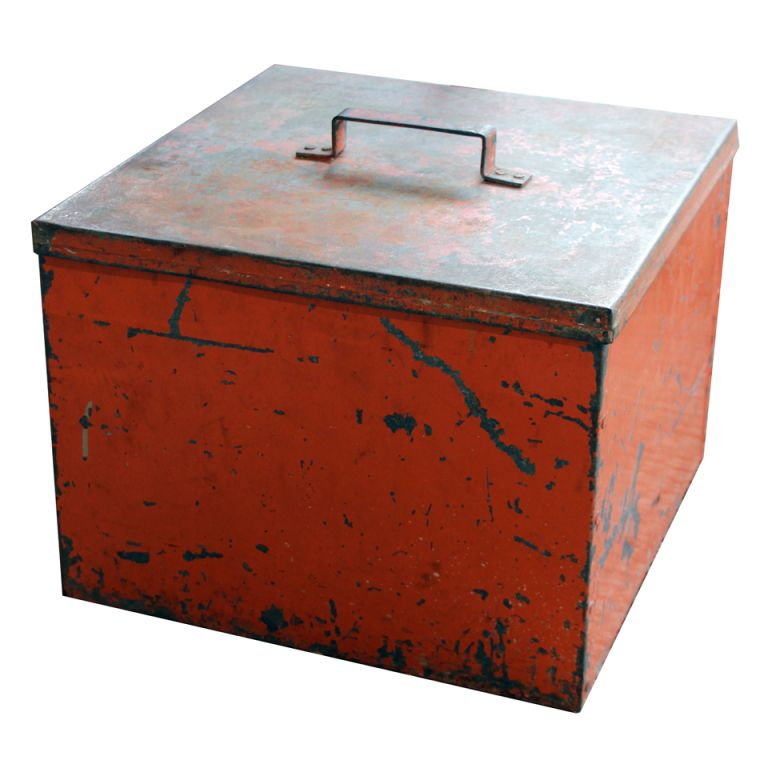 View This Item And Discover Similar Boxes For Sale At   Metal Storage Box  With Lid And Fantastic Orange Color