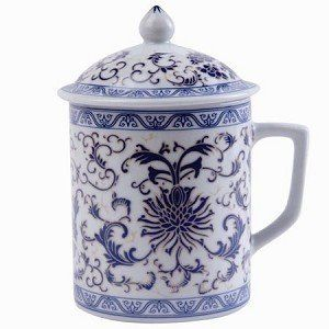 Asian Porcelain Mug For Tea Or Coffee With Lid Blue Fl