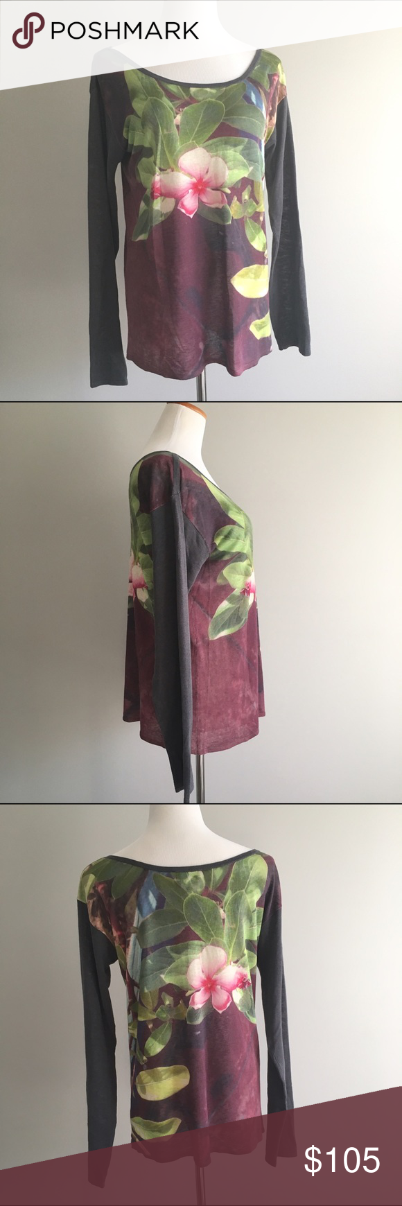agnés b. Floral Long Sleeve Scoop Silk-Linen Top agnés b. Floral Long Sleeve Wide Scoop Neck Silk-Linen Top  Steely gray sleeves and trim contrast with the green, pink, and wine-colored floral print of this long sleeve agnés b. top. EUC. Size 3 = large. Thin, lightweight material blend.  55% silk 45% linen  Hand wash agnés b. Tops