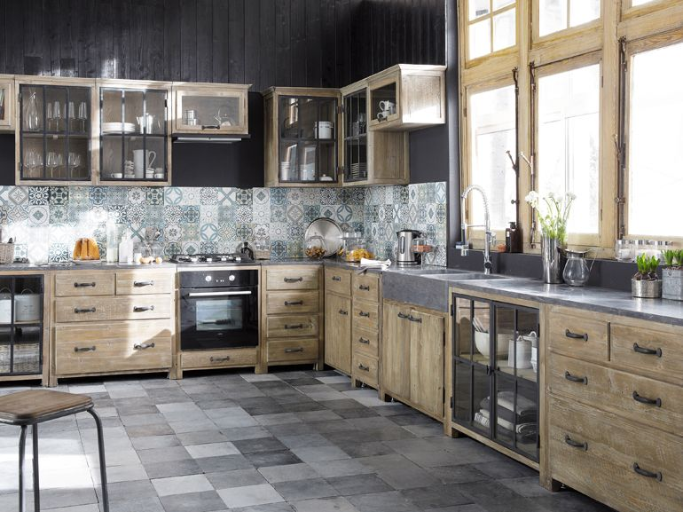 cucine in muratura mattonelle decorate cucina country di maisons du ...