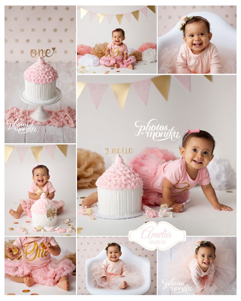 white, gold, pink, first birthday girl, cake smash Smash