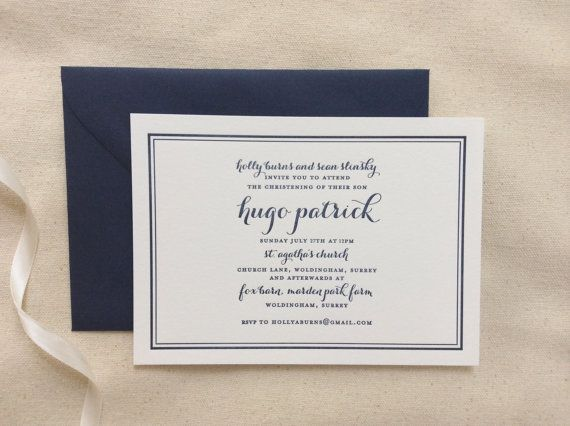 Letterpress Christening Invitation With Border