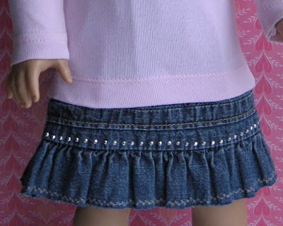How to  recycle a denim skirt into a doll skirt--step by step with photos.