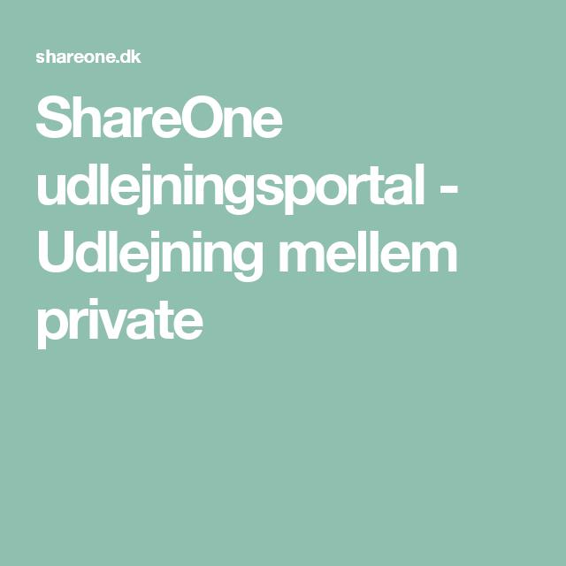 ShareOne udlejningsportal - Udlejning mellem private