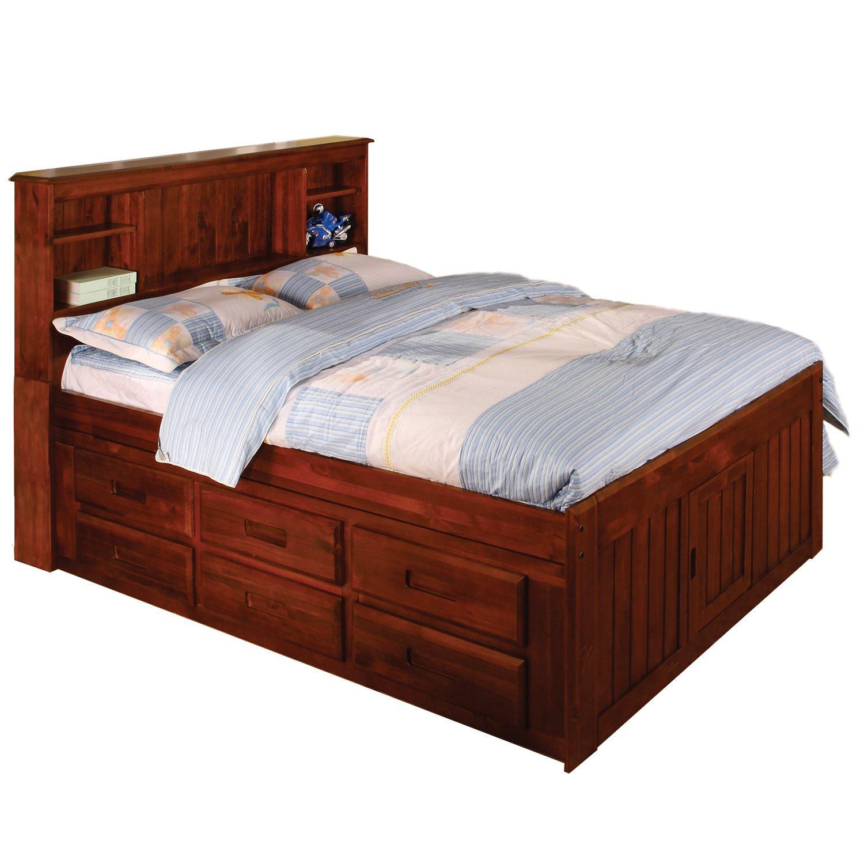 American Merlot Solid Pine Full sized 12 drawer Captain s Bed
