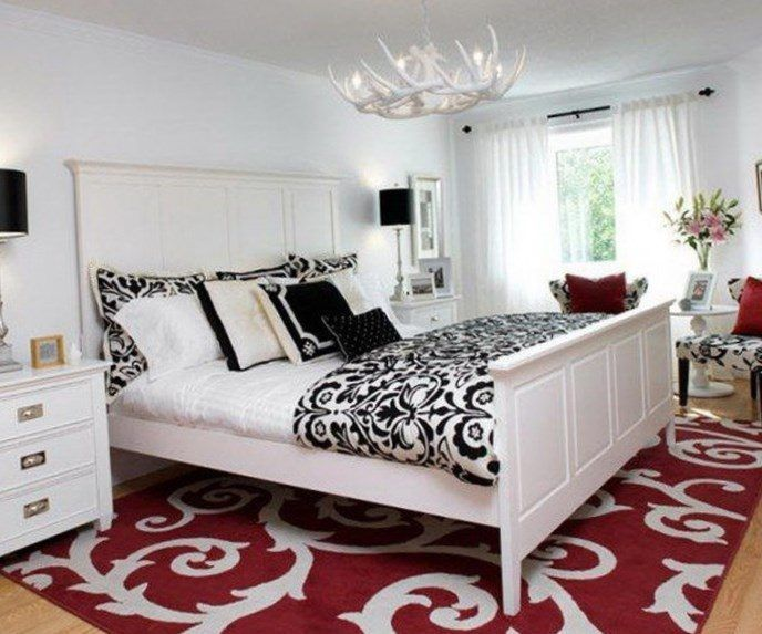 Black white and red bedroom decorating ideas - https://bedroom ... on