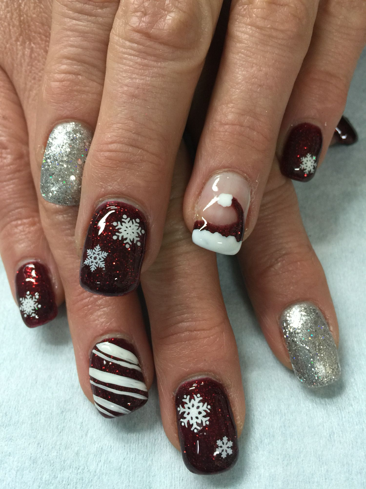Red Silver Glitter Candy Cane Santa Hat Snowflakes Christmas Hard Gel Nails Hard Gel Nails Glitter Gel Nails Red Nails
