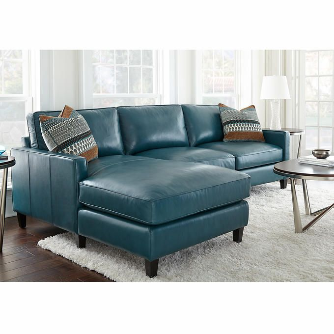 Andersen Top Grain Leather Chaise Sectional   Dark Turquoise
