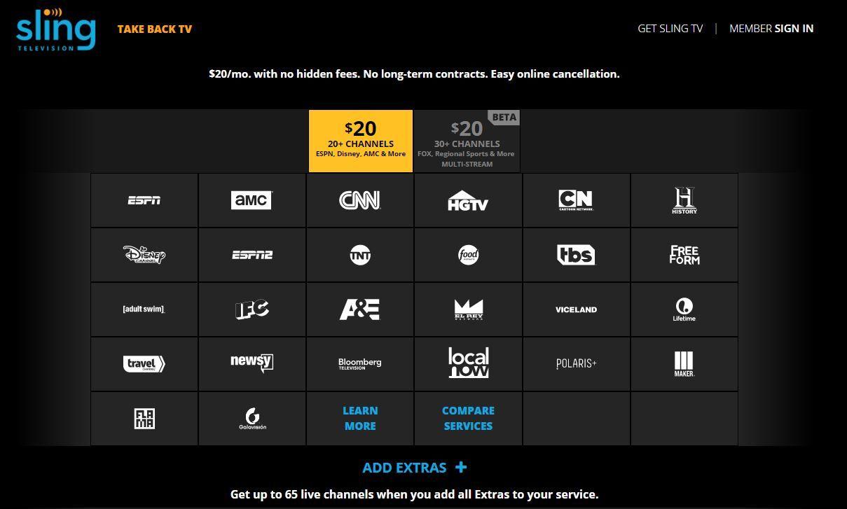Sling TV channels 1 April 2016 Sling tv, Sports channel