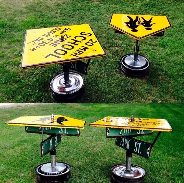 Repurposed Vintage Street Sign Tables Artistic