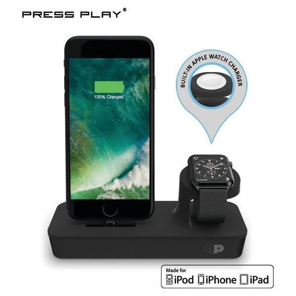 Press Play 2-in-1 Dock Power station Built in charger for Apple Smart Watch