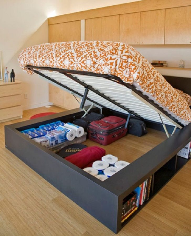 Elegant Queen Size Platform Bed With Storage Underneath The