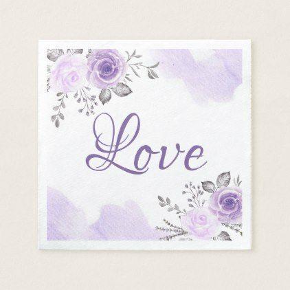 Chic Pastel Purple Fl Love Script Wedding Paper Napkin