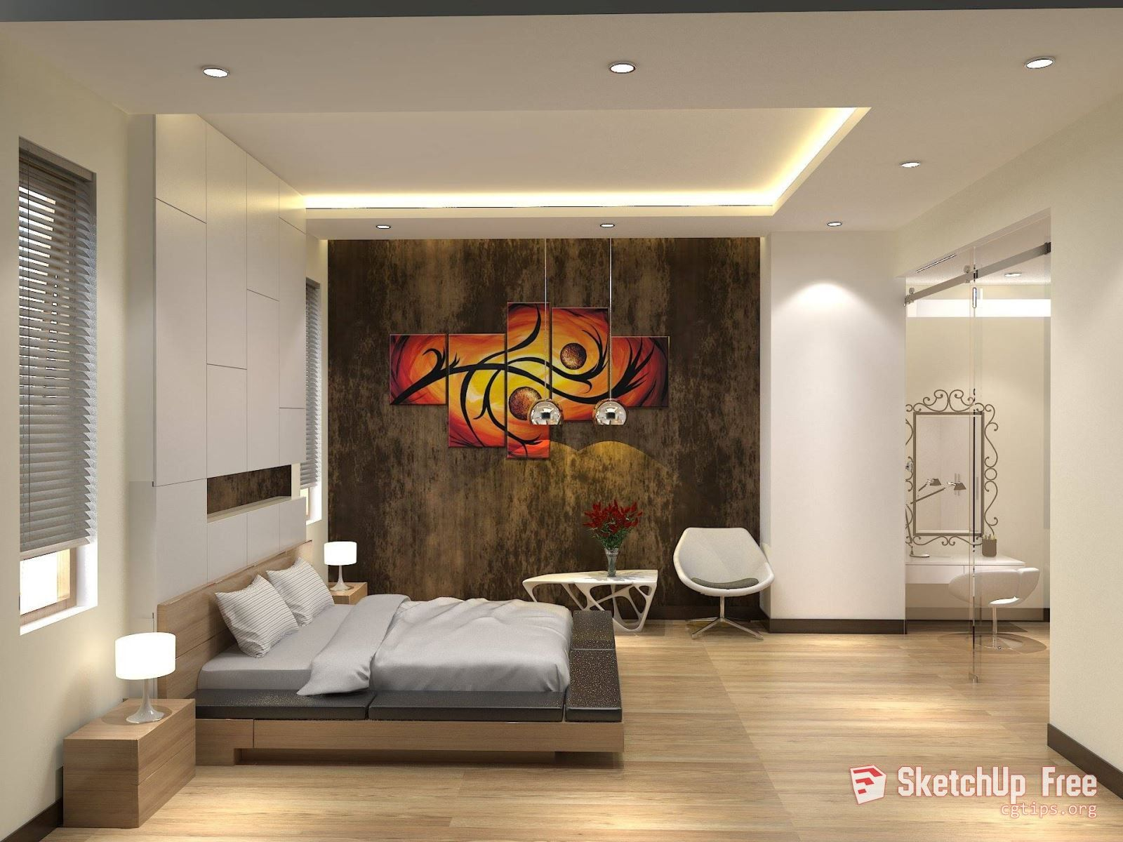 1486 Interior Bedroom Sketchup Model By Quoc Lam Free Download