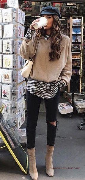 2020 Bayan Gömlek Kazak Kombinleri Siyah Skinny Pantolon Beyaz Desenli Gömlek Vizon Kazak Vizon Nubuk Topuklu Bot – Stil