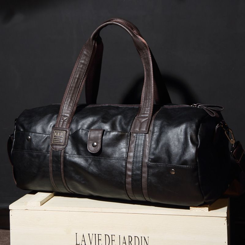 3598a969a284 High Quality Leather Men Travel Bag Large Waterproof Duffel Tote Black Duffel  Overnight Packing Cubes Carry