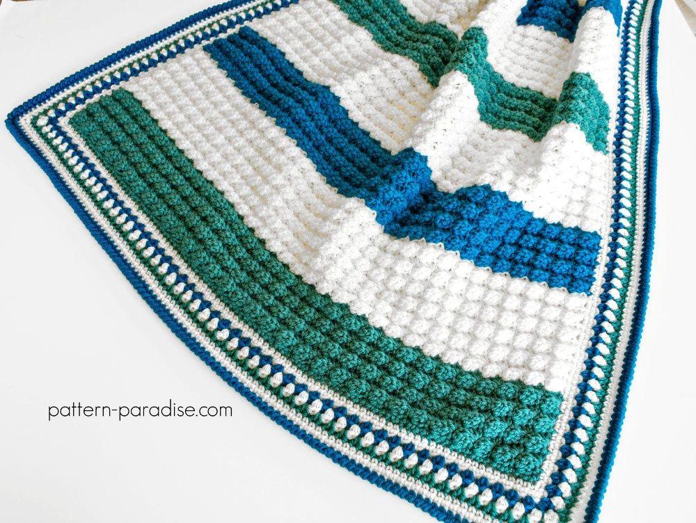 Free Crochet Pattern: Blue Hawaiian Baby Blanket | Pattern Paradise ...