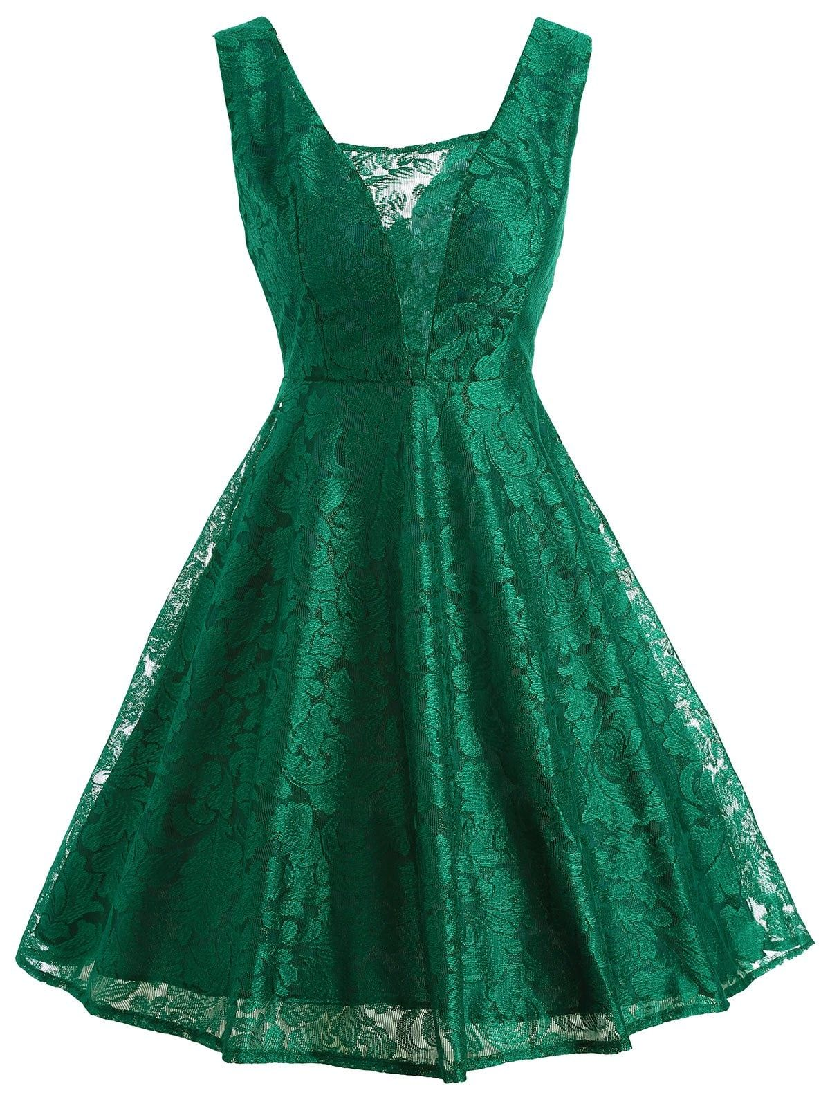 Green dress ideas  Retro Sleeveless Lace Fit and Flare Dress  ideas for party