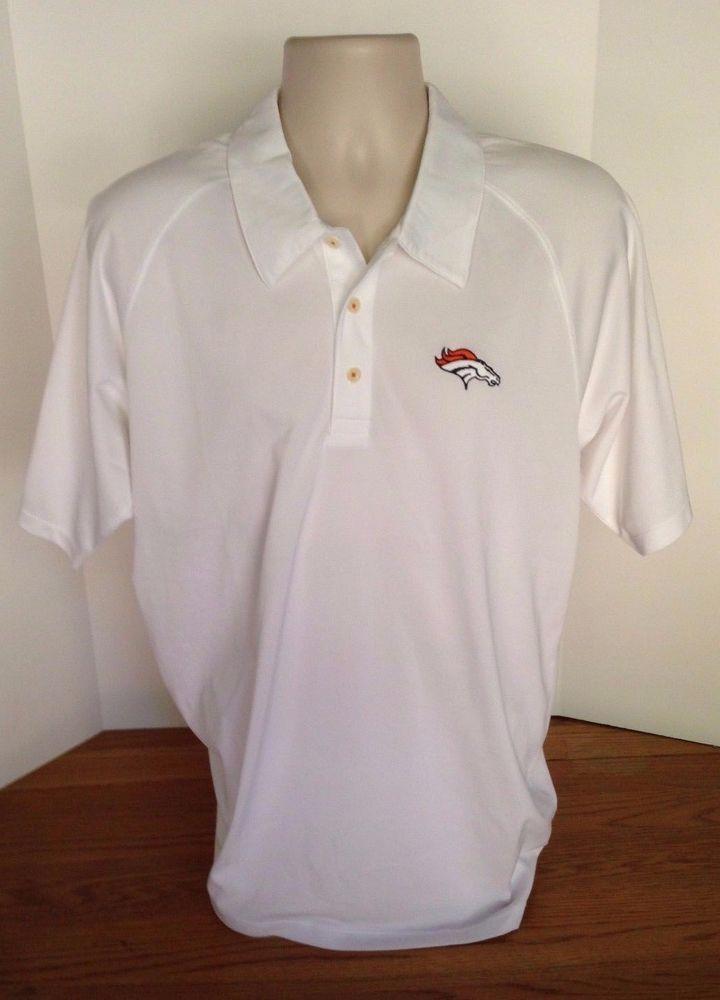 Denver Broncos Reebok White Polo Shirt Size Men S Size Medium M Nfl