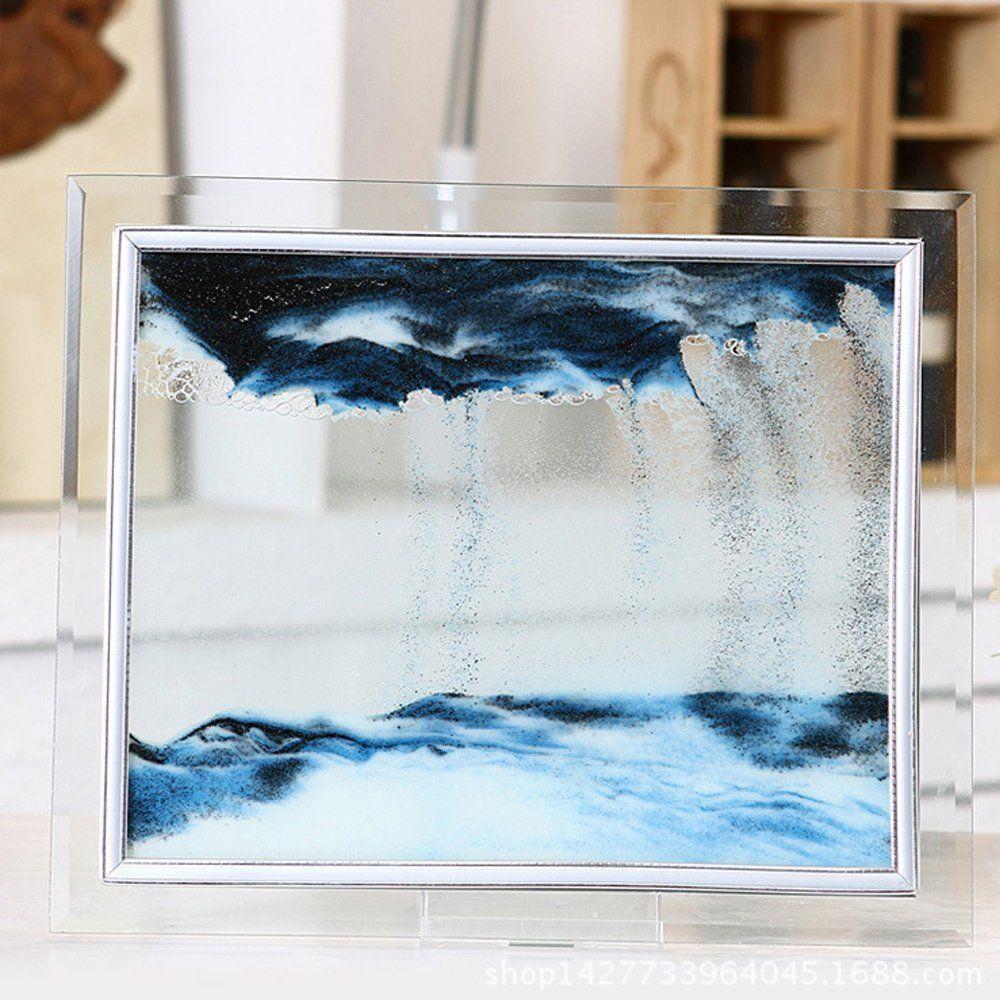 Btrstt blue moving sand glass picture home office desk