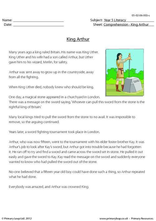 PrimaryLeap.co.uk - Comprehension - King Arthur Worksheet ...