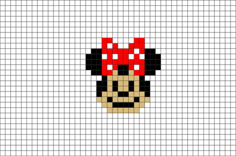 minnie mouse pixel art brik pixel art designs pinterest pixel art art and cross stitch. Black Bedroom Furniture Sets. Home Design Ideas