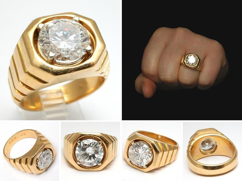 mens diamond rings | Mens Gold Diamond Rings Vintage 4.38ct ...