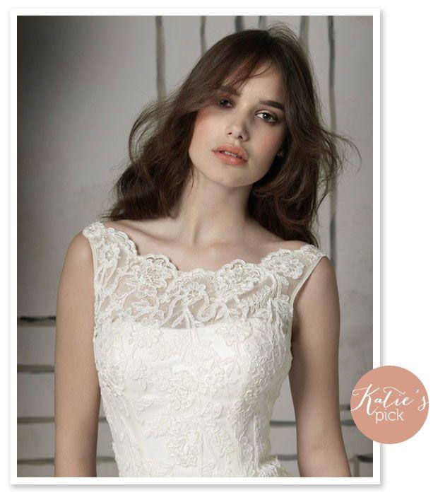 Boatneck style lace illusion neckline wedding dress for Boat neck lace wedding dress