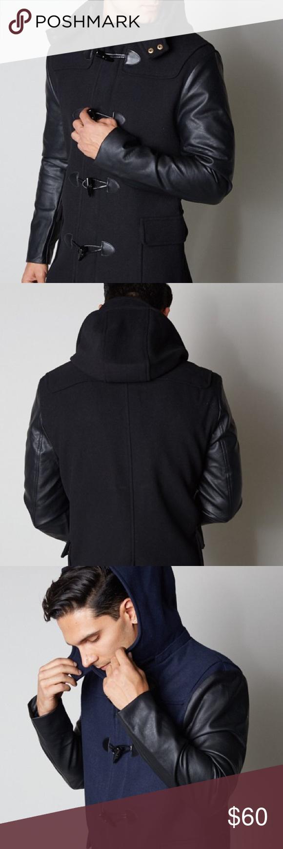 Premium Leather Sleeve Jacket Long Coat Pea Coat Mens