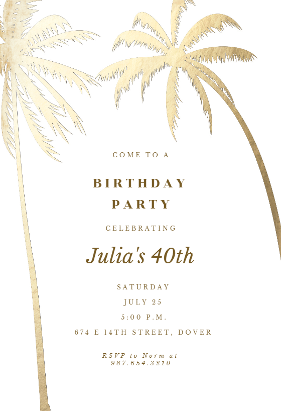 Palm Trees Birthday Invitation