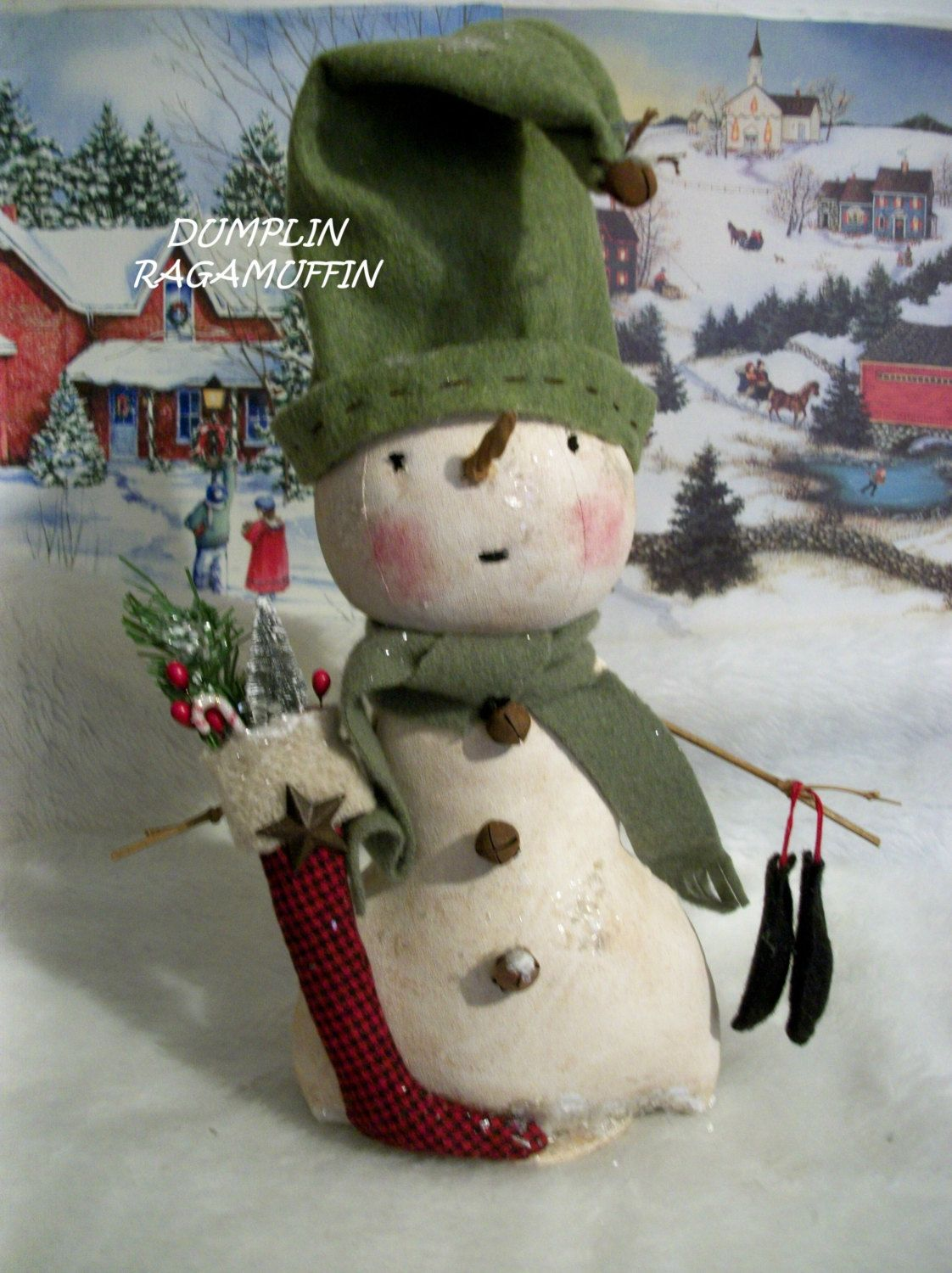 Pattern Primitive Snowman Home Decor Christmas And Winter Display By Dumplinragain