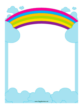 Good This Border Includes A Rainbow Reaching Across The Sky. Free To Download  And Print.