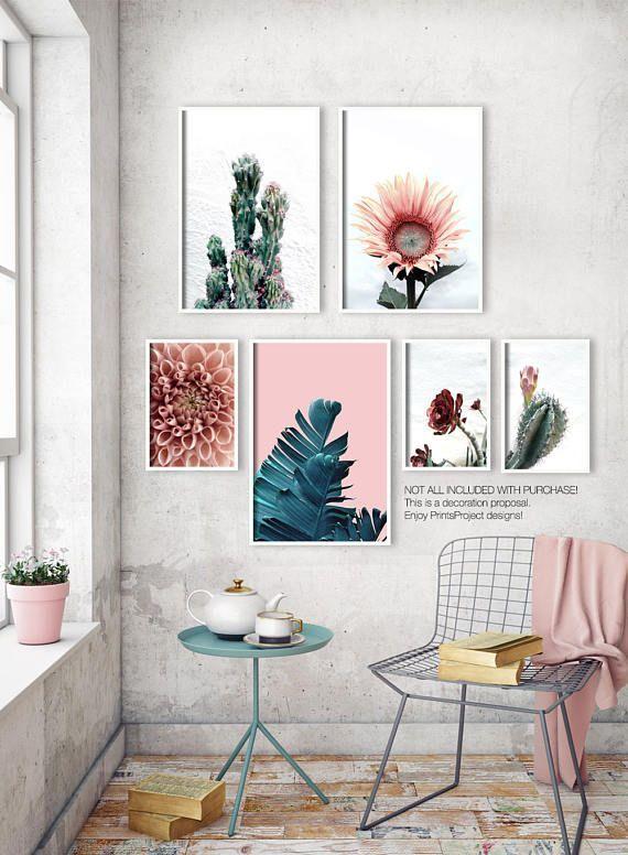 Bananenblatt Print, Palm Leaf Poster, botanische Wandkunst, blau rosa druckbare Kunst, tropis…