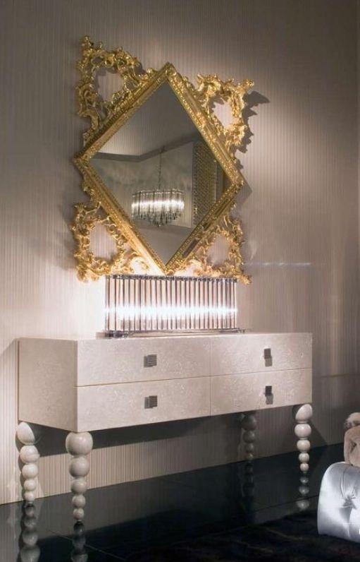 vergoldeter-Spiegel-Schlafzimmer Designer Möbel Pinterest - spiegel für schlafzimmer