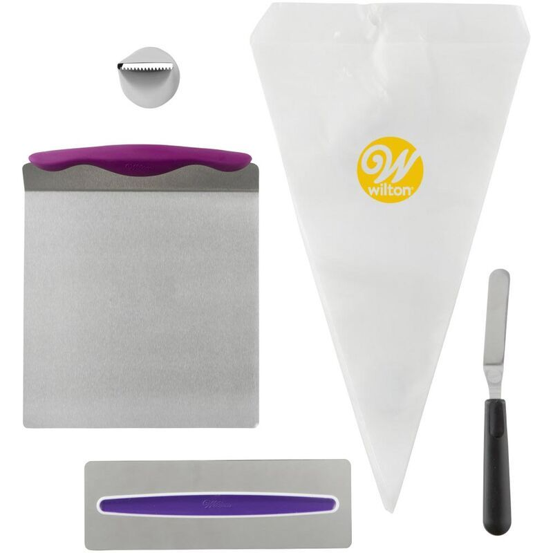 Cake Decorating Kit For Beginners Lifter Spatula Icing Tip Smoother And Disposable Decorating Bags Cake Decorating Kits Icing Tips Wilton Cake Decorating