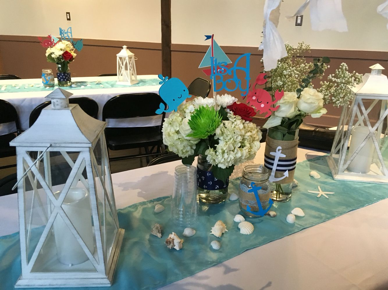 Nautical Baby Shower Table Decorations With Lanterns Fresh Flowers In Mason Jars Table Decorations Nautical Centerpiece Nautical Table
