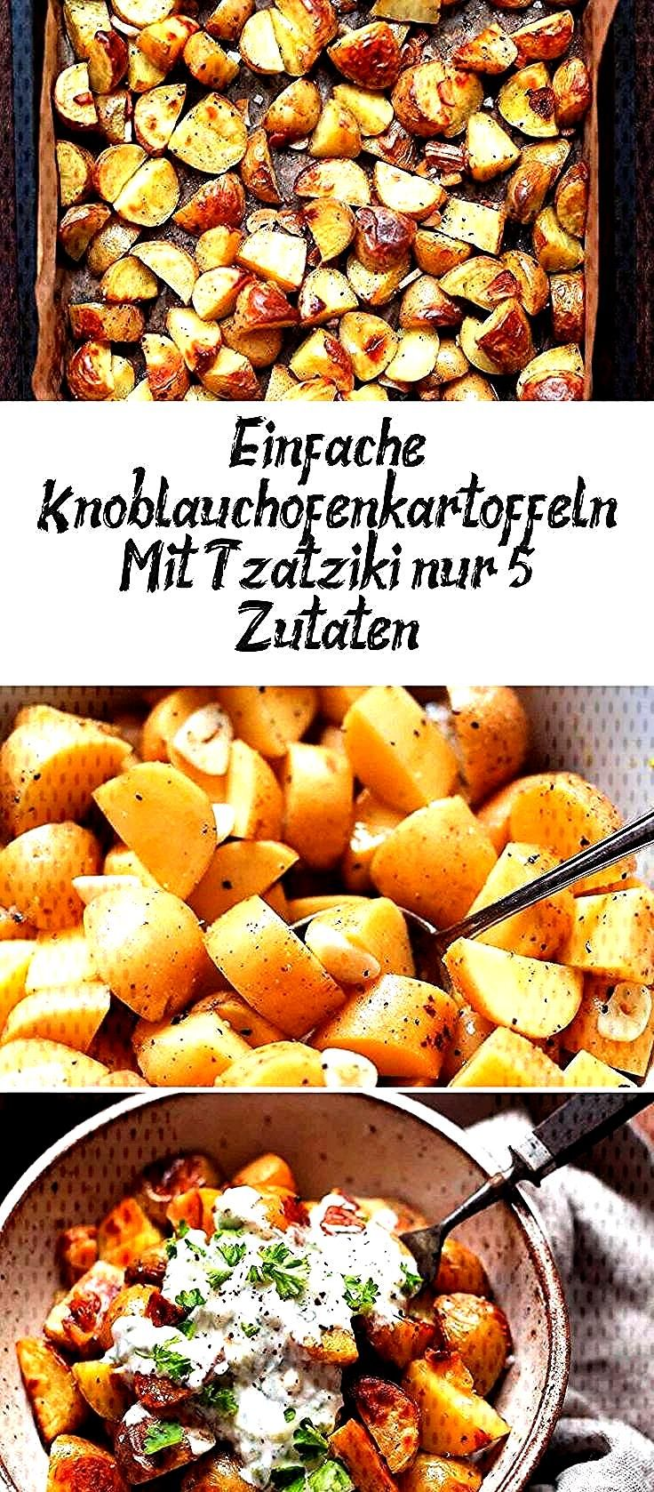 Simple Garlic Oven Potatoes With Tzatziki (only 5 ingredients!),