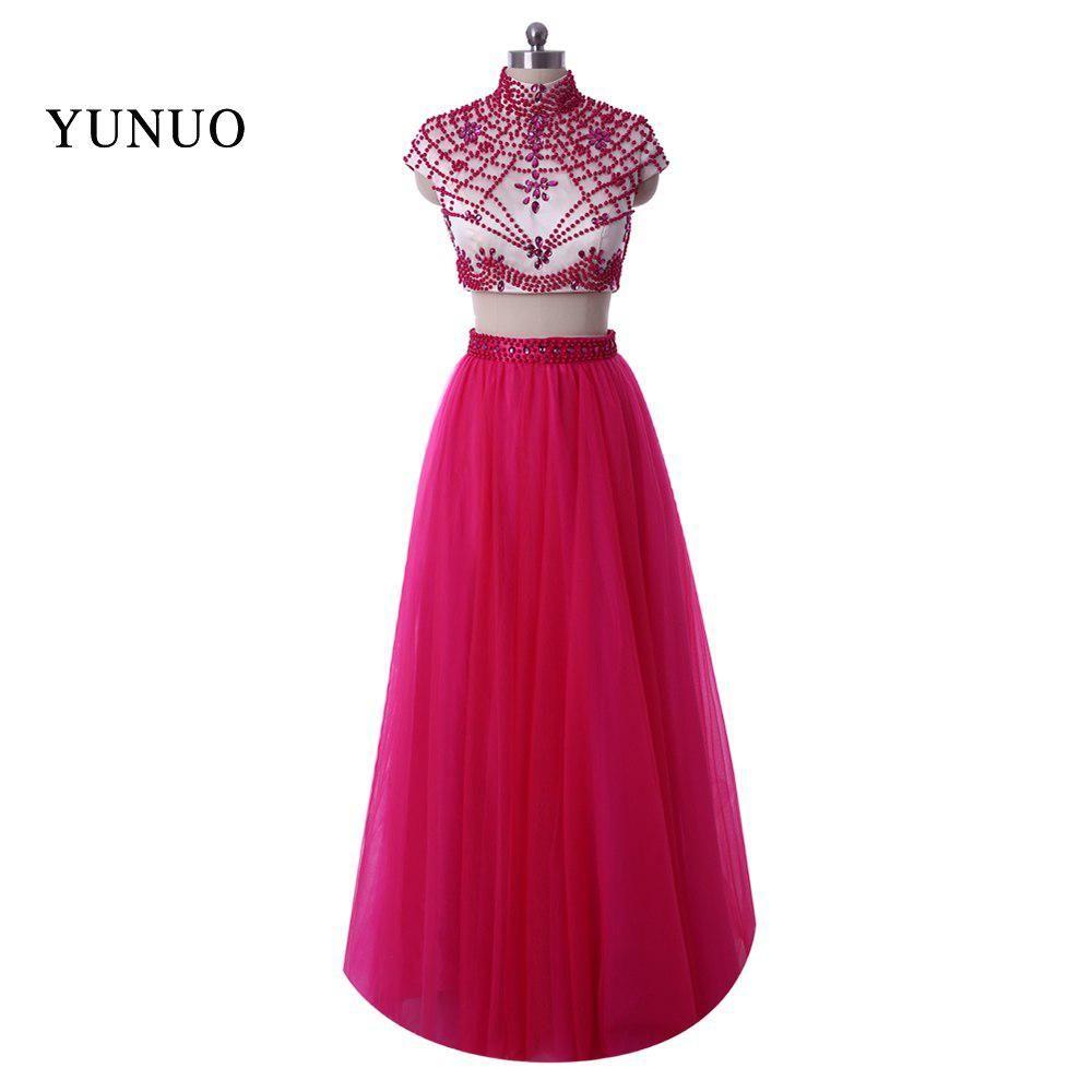 Robe de soiree longue sexy tow piece long prom dresses high neck