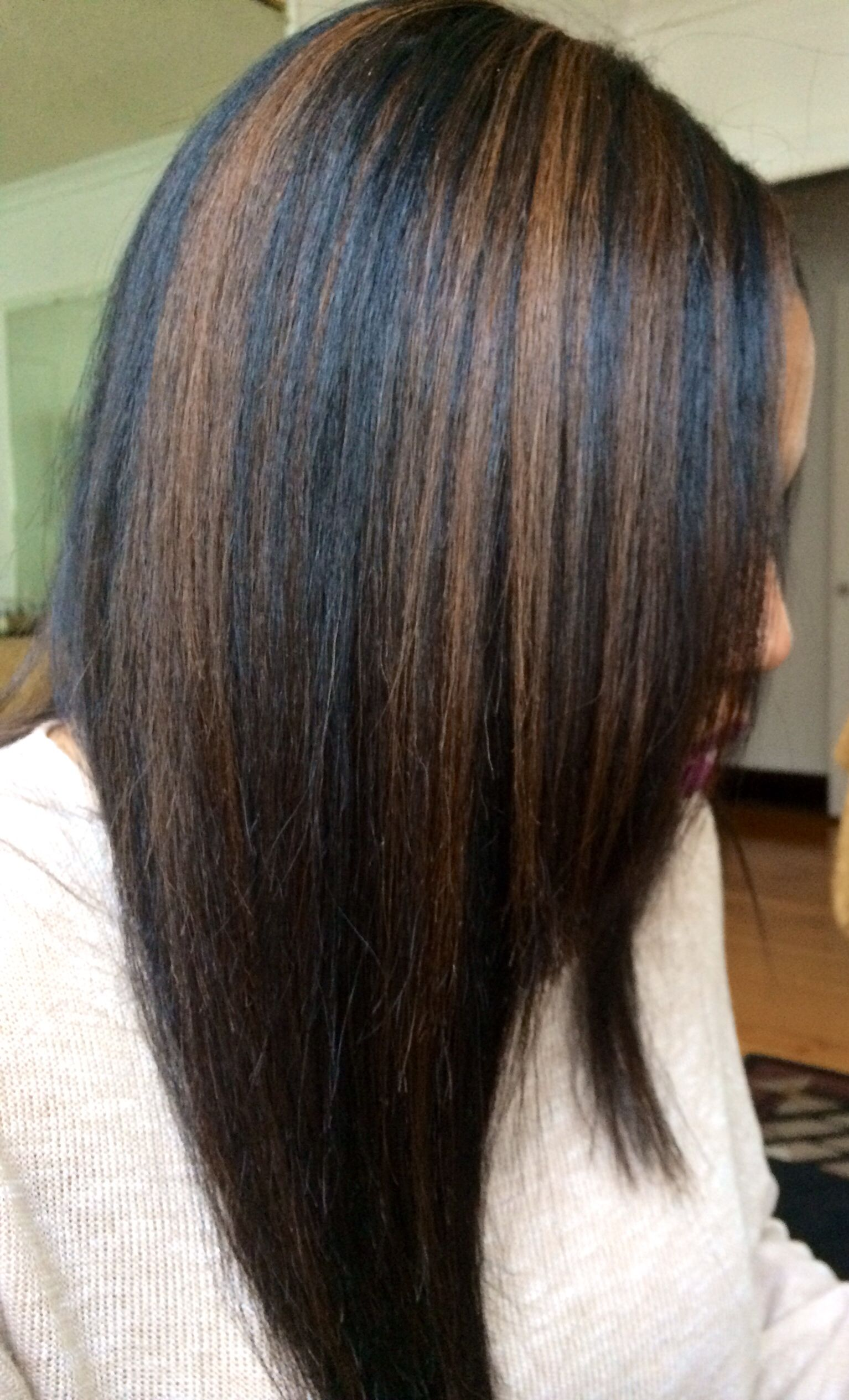 black hair with caramel highlights