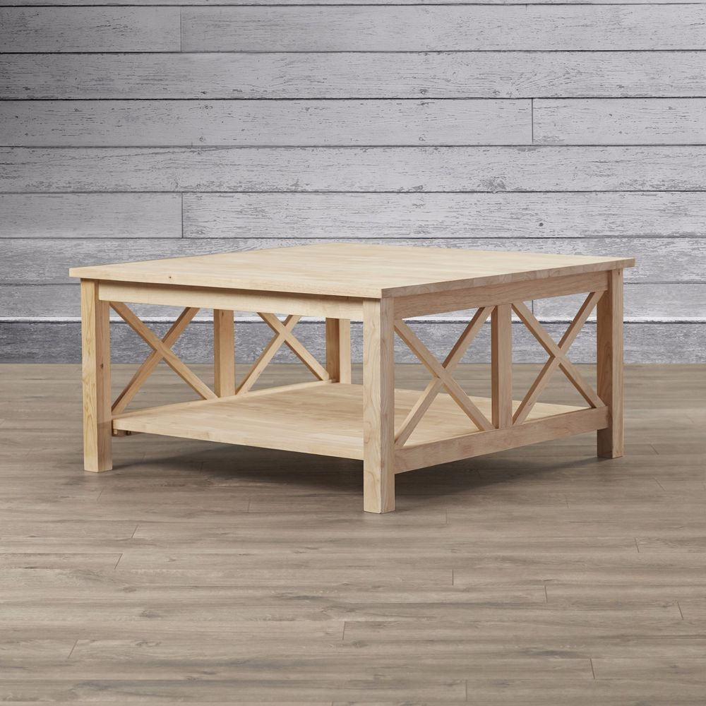 Walden Wood Coffee Table Unfinished Square Huge Sturdy Solid Parawood  Decorative #LoonPeak #Contemporary