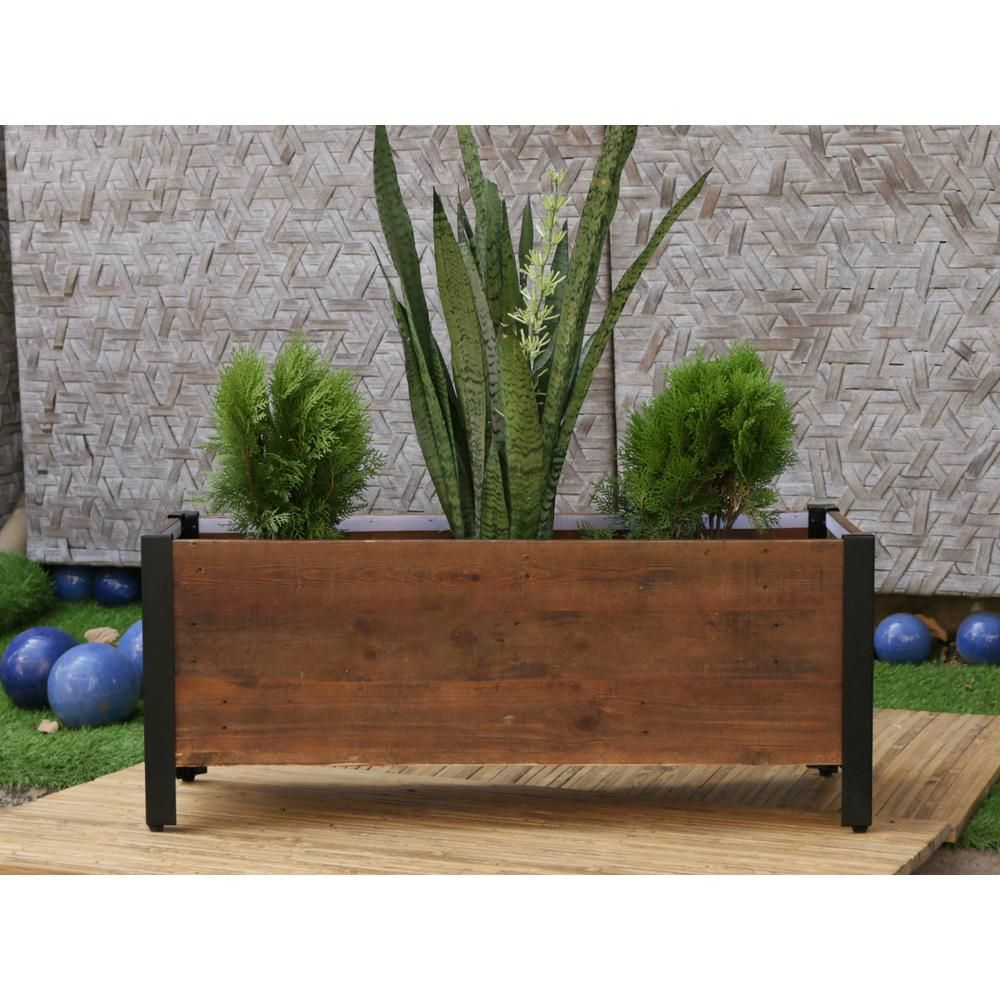 Grapevine 37 In X 15 In Urban Garden Brown Recycled Wood Planter