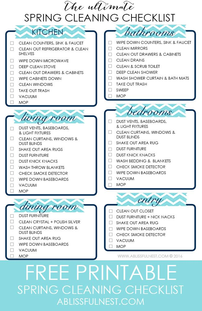 Your ULTIMATE spring cleaning checklist to help you refreshen your home for spring by ablissfulnest.com